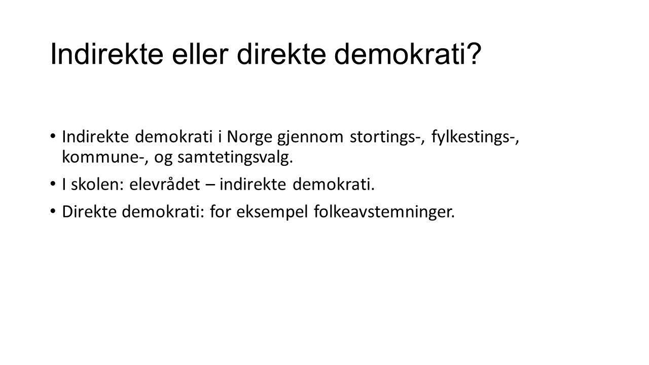 Indirekte eller direkte demokrati.