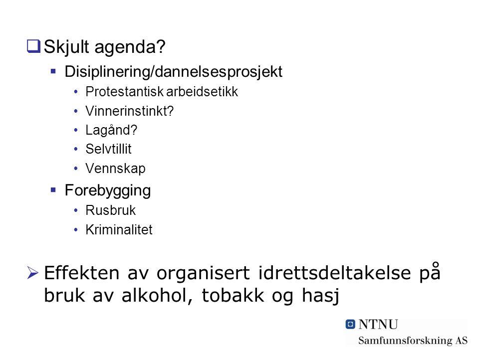  Skjult agenda.  Disiplinering/dannelsesprosjekt Protestantisk arbeidsetikk Vinnerinstinkt.