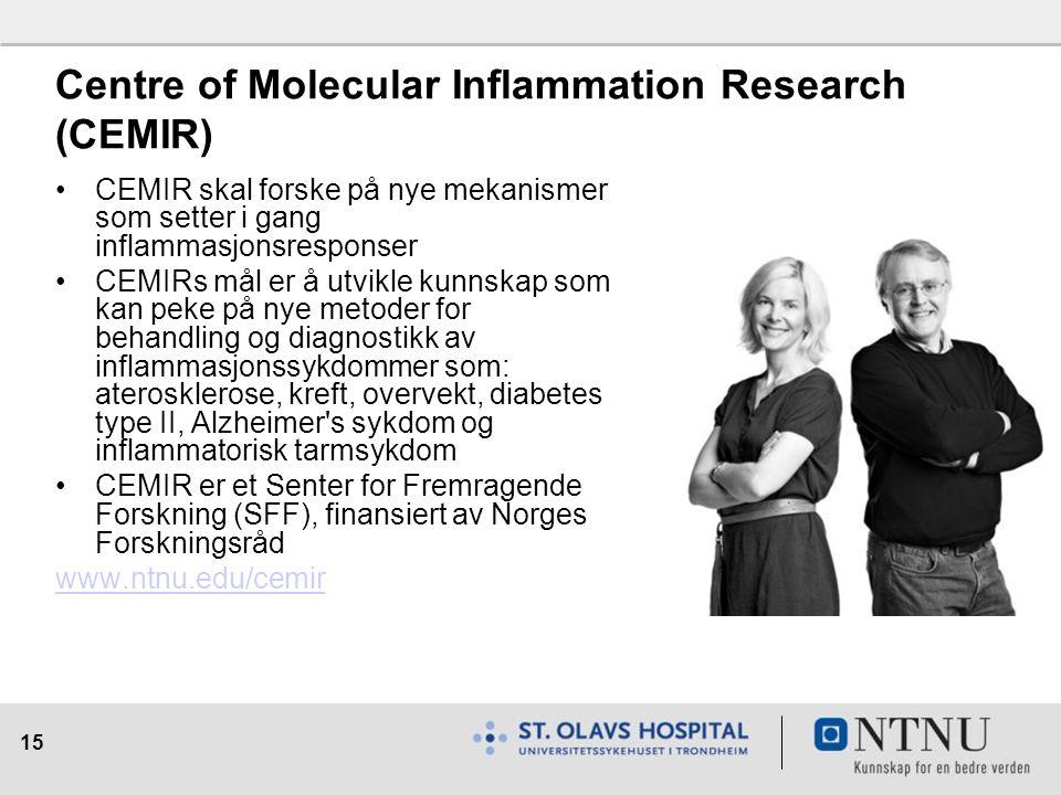 15 Centre of Molecular Inflammation Research (CEMIR) CEMIR skal forske på nye mekanismer som setter i gang inflammasjonsresponser CEMIRs mål er å utvikle kunnskap som kan peke på nye metoder for behandling og diagnostikk av inflammasjonssykdommer som: aterosklerose, kreft, overvekt, diabetes type II, Alzheimer s sykdom og inflammatorisk tarmsykdom CEMIR er et Senter for Fremragende Forskning (SFF), finansiert av Norges Forskningsråd www.ntnu.edu/cemir