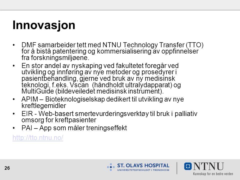 26 Innovasjon DMF samarbeider tett med NTNU Technology Transfer (TTO) for å bistå patentering og kommersialisering av oppfinnelser fra forskningsmiljøene.