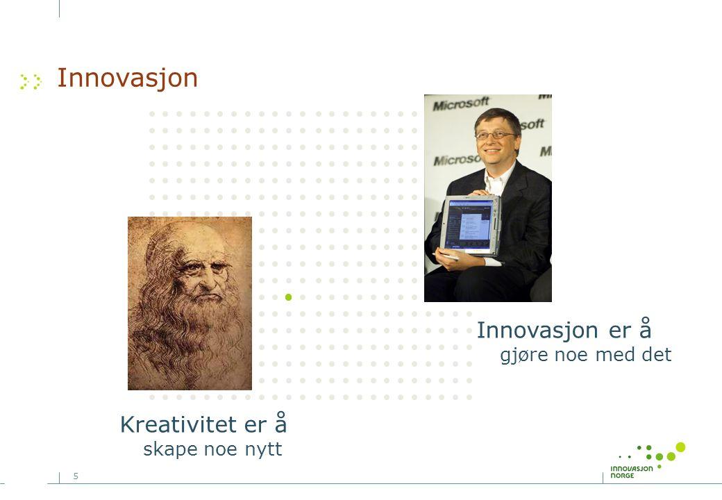 5 Innovasjon Kreativitet er å skape noe nytt Innovasjon er å gjøre noe med det