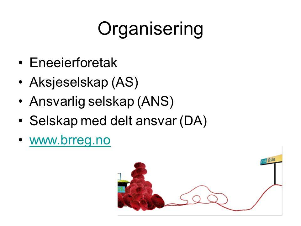 Organisering Eneeierforetak Aksjeselskap (AS) Ansvarlig selskap (ANS) Selskap med delt ansvar (DA) www.brreg.no