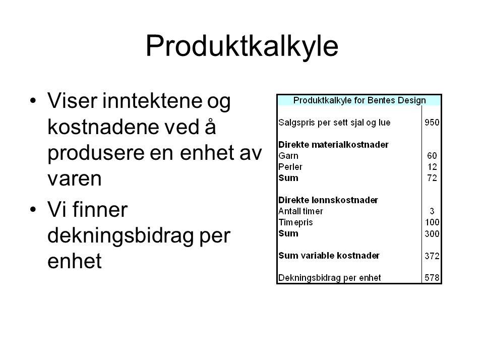 Produktkalkyle Viser inntektene og kostnadene ved å produsere en enhet av varen Vi finner dekningsbidrag per enhet