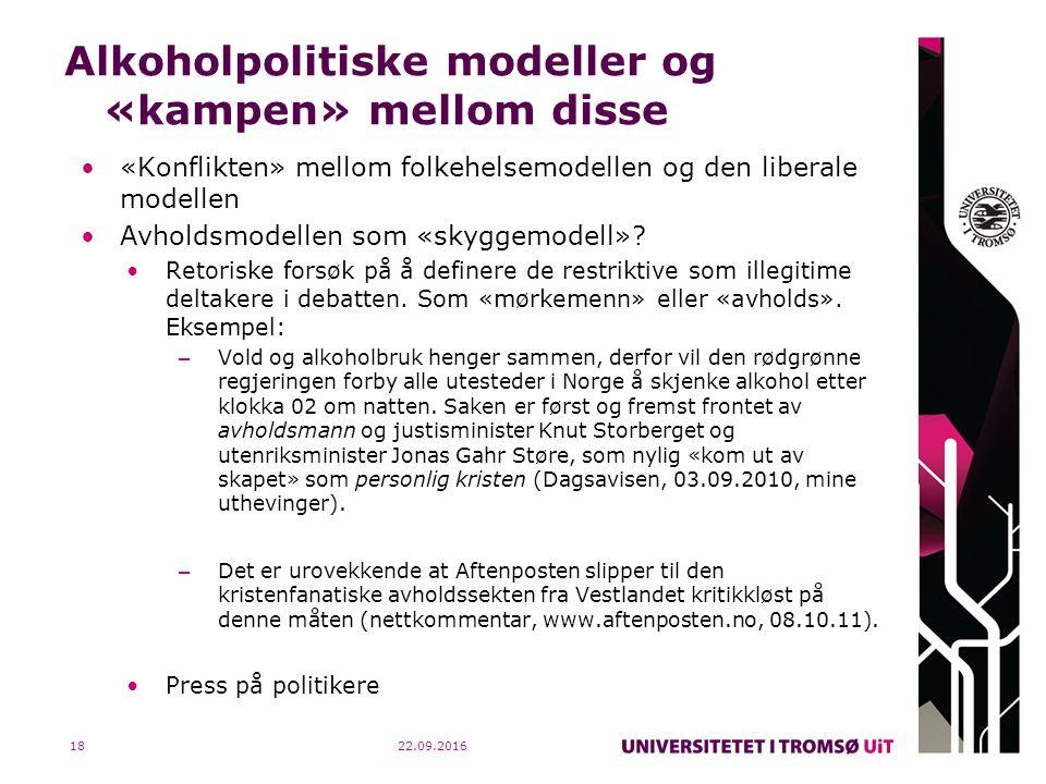 Alkoholpolitiske modeller og «kampen» mellom disse «Konflikten» mellom folkehelsemodellen og den liberale modellen Avholdsmodellen som «skyggemodell».