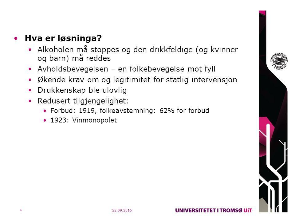 22.09.20165 Ca.1930–ca.1975: Sjukdomsmodellen Hva er problemet med alkohol.