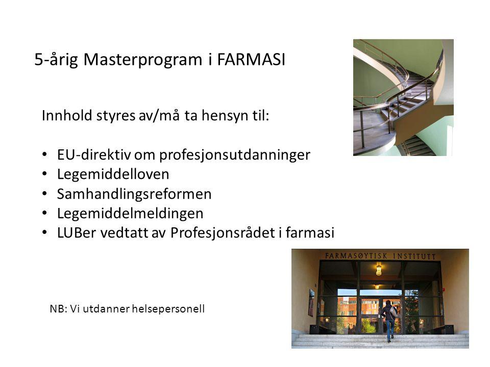 5-årig Masterprogram i FARMASI Innhold styres av/må ta hensyn til: EU-direktiv om profesjonsutdanninger Legemiddelloven Samhandlingsreformen Legemidde