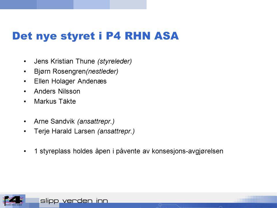 Det nye styret i P4 RHN ASA Jens Kristian Thune (styreleder) Bjørn Rosengren(nestleder) Ellen Holager Andenæs Anders Nilsson Markus Täkte Arne Sandvik (ansattrepr.) Terje Harald Larsen (ansattrepr.) 1 styreplass holdes åpen i påvente av konsesjons-avgjørelsen