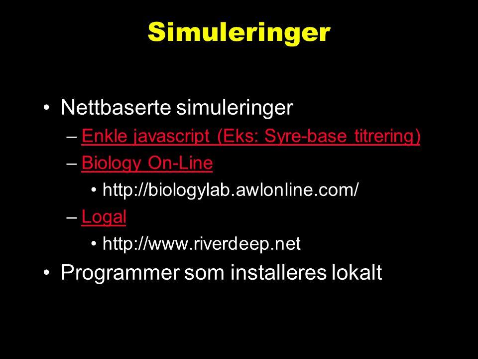 Erstatning av lab. øvinger Eks.: syre-base titrering