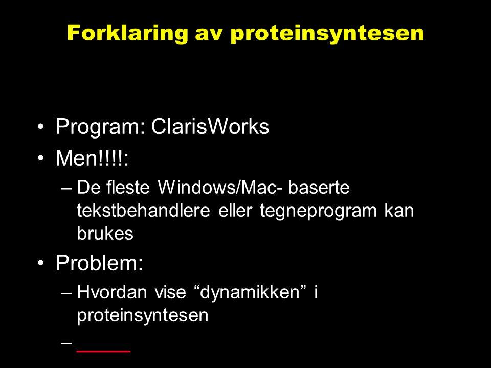 Forklaring av proteinsyntesen Program: ClarisWorks Men!!!!: –De fleste Windows/Mac- baserte tekstbehandlere eller tegneprogram kan brukes Problem: –Hvordan vise dynamikken i proteinsyntesen –__________