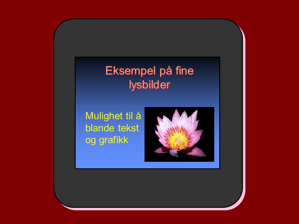 Eksempel på fine lysbilder Mulighet til å blande tekst og grafikk