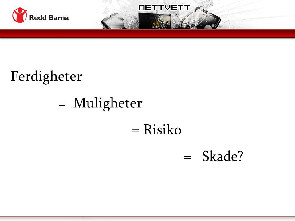 Ferdigheter = Muligheter = Risiko = Skade