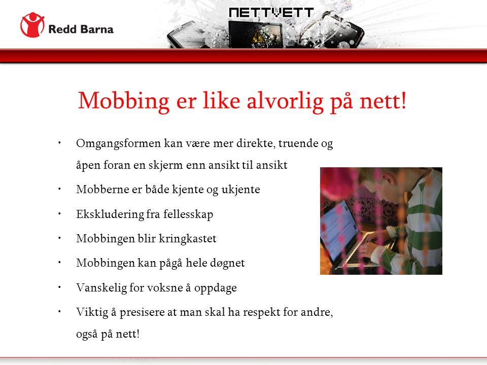 Mobbing er like alvorlig på nett.