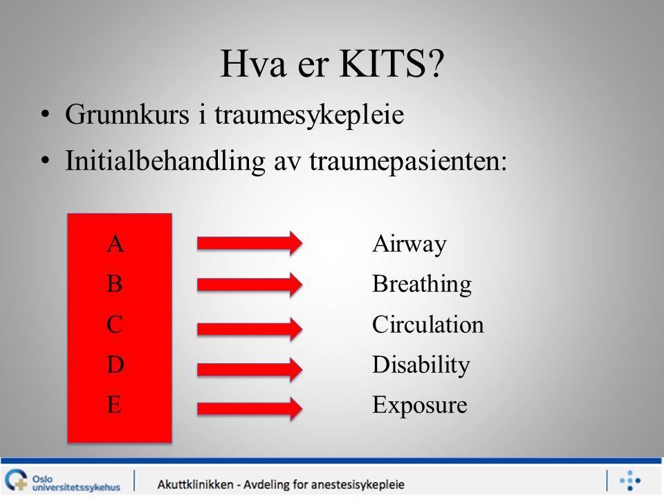Hva er KITS? Grunnkurs i traumesykepleie Initialbehandling av traumepasienten: A Airway BBreathing CCirculation DDisability EExposure