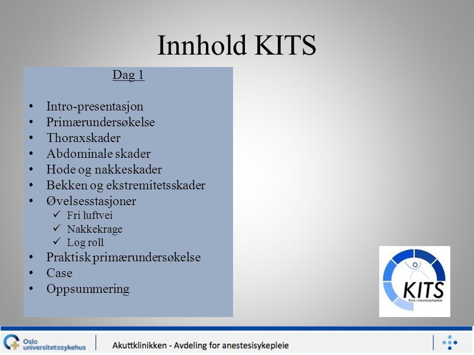 Innhold KITS Dag 1 Intro-presentasjon Primærundersøkelse Thoraxskader Abdominale skader Hode og nakkeskader Bekken og ekstremitetsskader Øvelsesstasjo