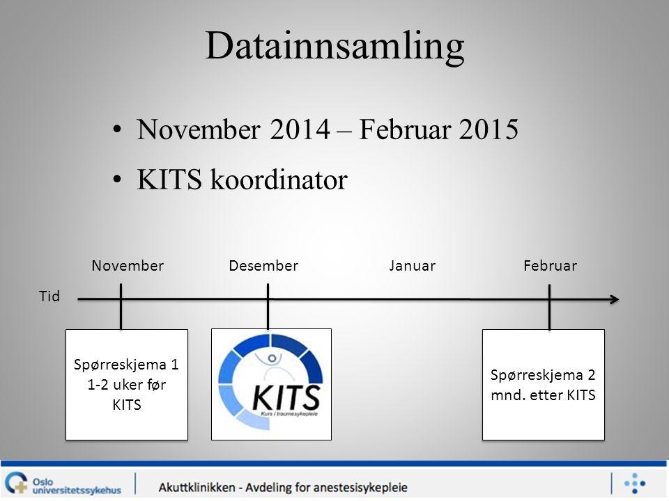Datainnsamling November 2014 – Februar 2015 KITS koordinator Spørreskjema 1 1-2 uker før KITS November Desember Januar Februar Spørreskjema 2 mnd. ett