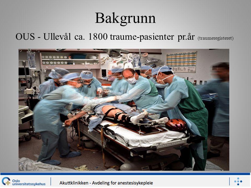 Bakgrunn OUS - Ullevål ca. 1800 traume-pasienter pr.år (traumeregisteret)