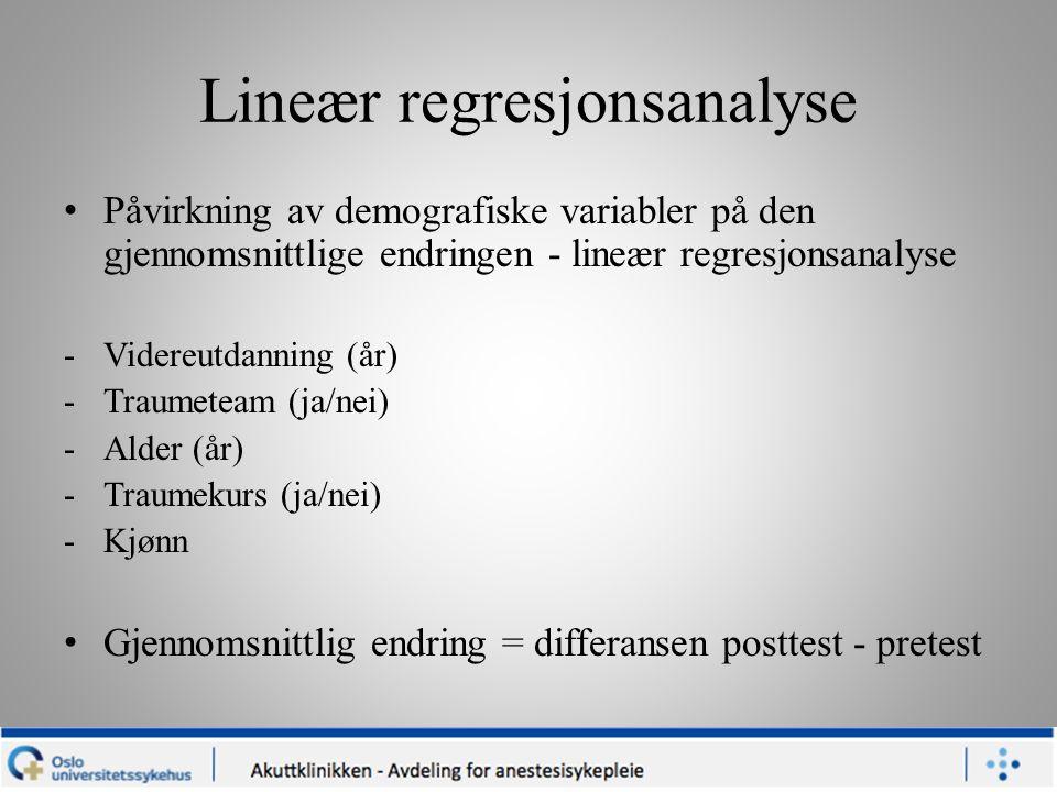 Lineær regresjonsanalyse Påvirkning av demografiske variabler på den gjennomsnittlige endringen - lineær regresjonsanalyse -Videreutdanning (år) -Trau