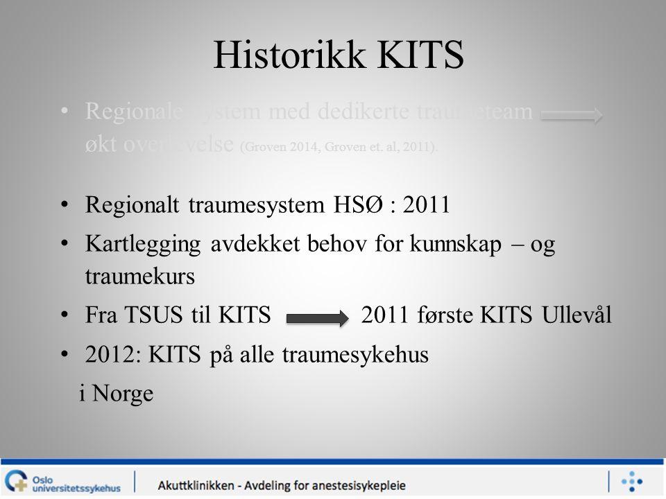 Historikk KITS Regionale system med dedikerte traumeteam økt overlevelse (Groven 2014, Groven et. al, 2011). Regionalt traumesystem HSØ : 2011 Kartleg
