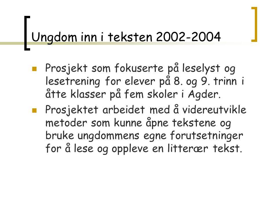 Ungdom inn i teksten 2002-2004 Prosjekt som fokuserte på leselyst og lesetrening for elever på 8.