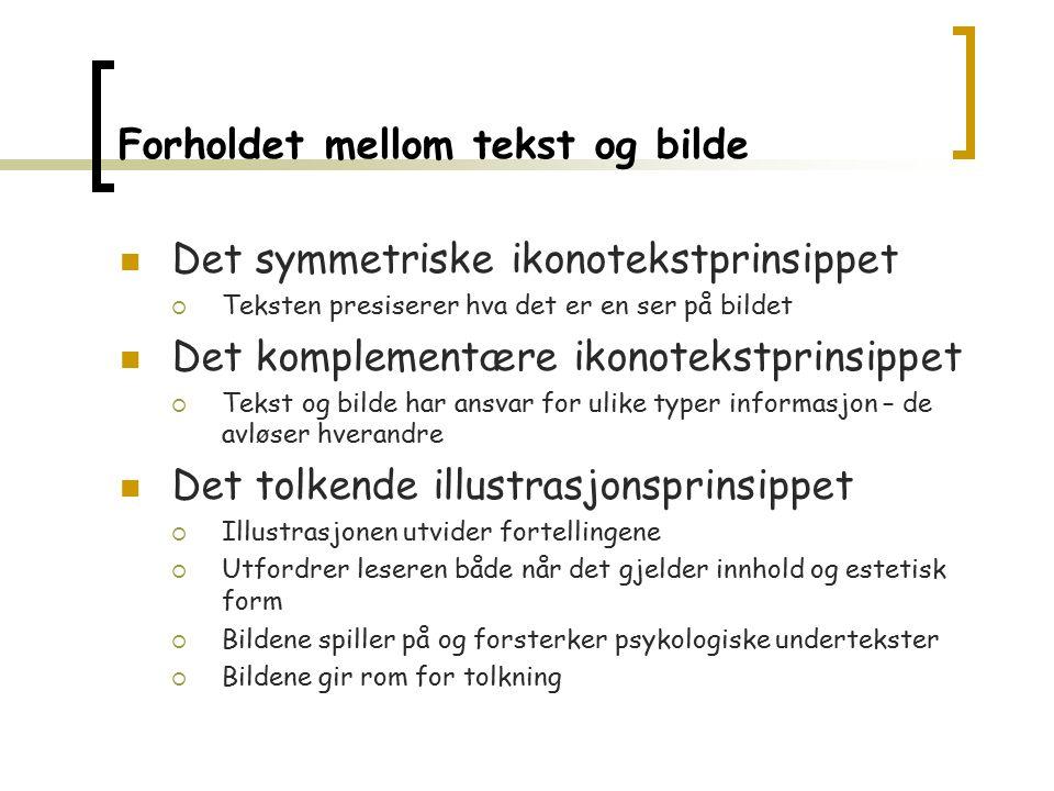 Forholdet mellom tekst og bilde Det symmetriske ikonotekstprinsippet  Teksten presiserer hva det er en ser på bildet Det komplementære ikonotekstprin