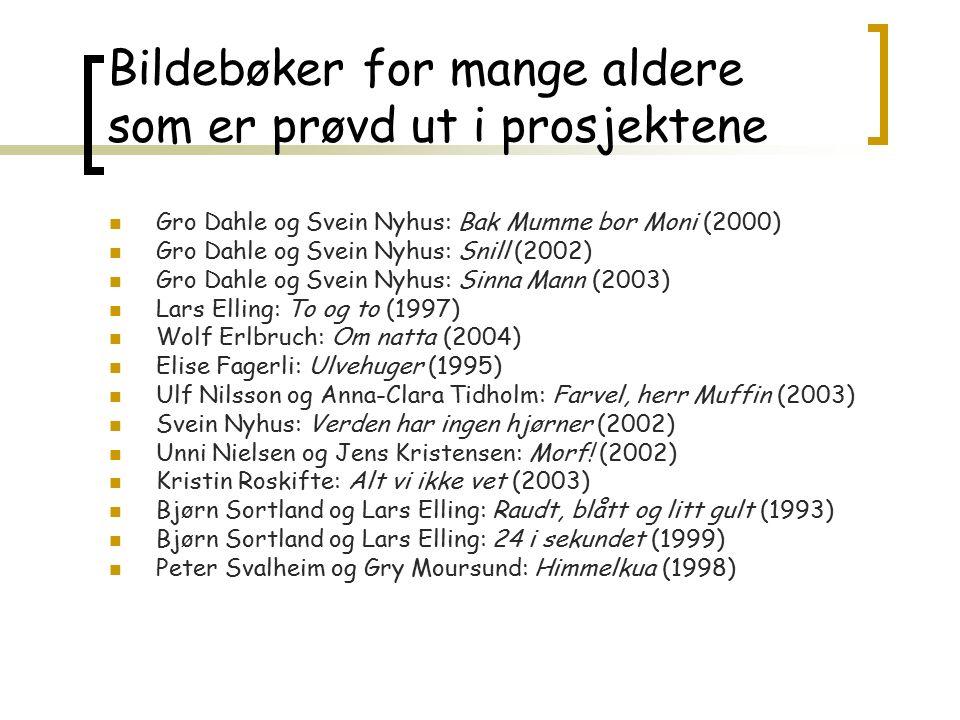 Bildebøker for mange aldere som er prøvd ut i prosjektene Gro Dahle og Svein Nyhus: Bak Mumme bor Moni (2000) Gro Dahle og Svein Nyhus: Snill (2002) G