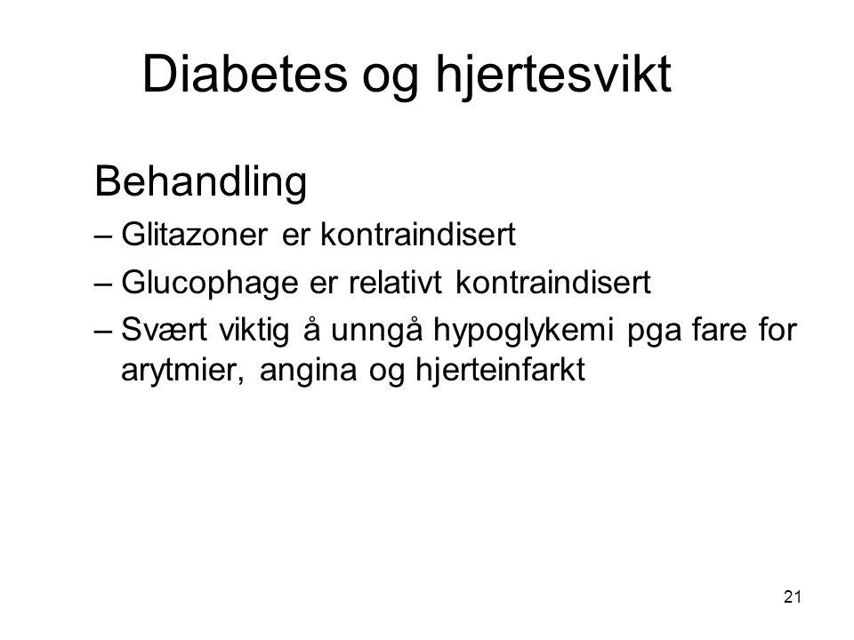 Diabetes og hjertesvikt Behandling –Glitazoner er kontraindisert –Glucophage er relativt kontraindisert –Svært viktig å unngå hypoglykemi pga fare for arytmier, angina og hjerteinfarkt 21