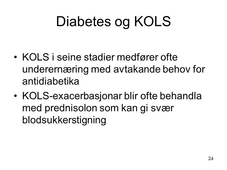 Diabetes og KOLS KOLS i seine stadier medfører ofte underernæring med avtakande behov for antidiabetika KOLS-exacerbasjonar blir ofte behandla med prednisolon som kan gi svær blodsukkerstigning 24