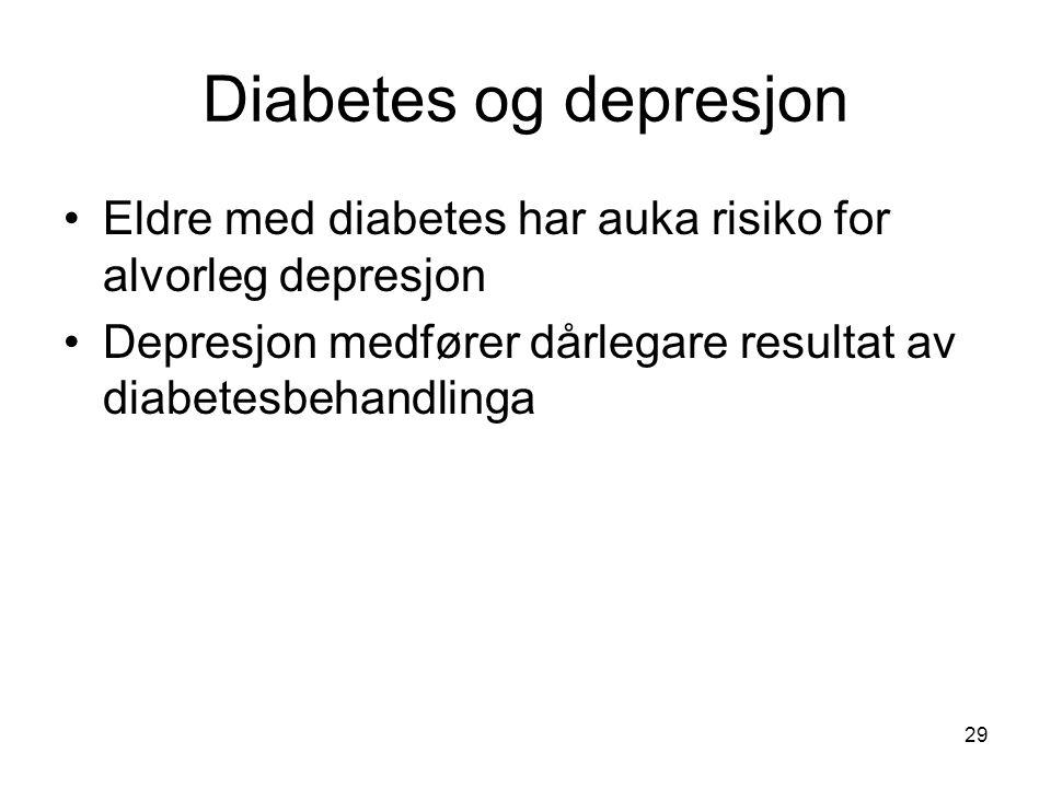Diabetes og depresjon Eldre med diabetes har auka risiko for alvorleg depresjon Depresjon medfører dårlegare resultat av diabetesbehandlinga 29