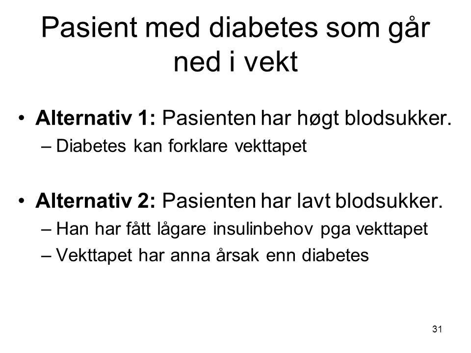 Pasient med diabetes som går ned i vekt Alternativ 1: Pasienten har høgt blodsukker.