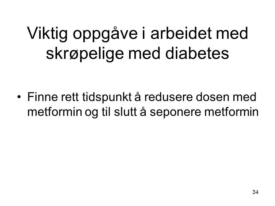 Viktig oppgåve i arbeidet med skrøpelige med diabetes Finne rett tidspunkt å redusere dosen med metformin og til slutt å seponere metformin 34