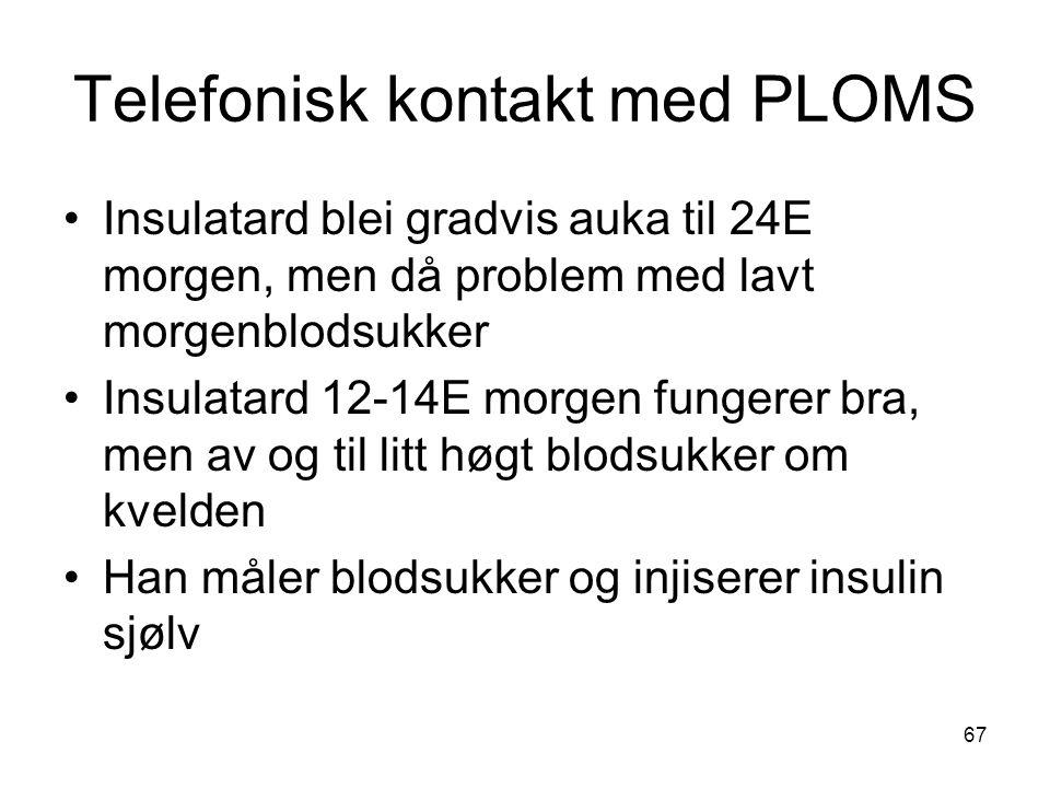 Telefonisk kontakt med PLOMS Insulatard blei gradvis auka til 24E morgen, men då problem med lavt morgenblodsukker Insulatard 12-14E morgen fungerer bra, men av og til litt høgt blodsukker om kvelden Han måler blodsukker og injiserer insulin sjølv 67