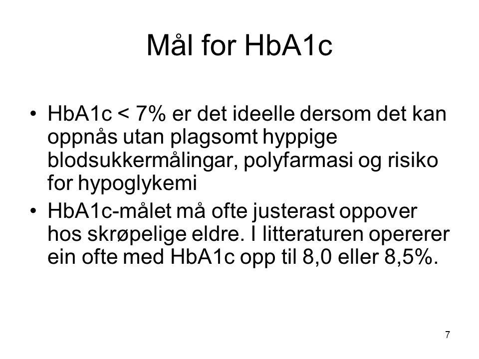 Mål for HbA1c HbA1c < 7% er det ideelle dersom det kan oppnås utan plagsomt hyppige blodsukkermålingar, polyfarmasi og risiko for hypoglykemi HbA1c-målet må ofte justerast oppover hos skrøpelige eldre.