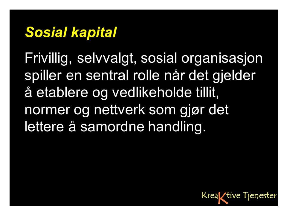 Sosial kapital Frivillig, selvvalgt, sosial organisasjon spiller en sentral rolle når det gjelder å etablere og vedlikeholde tillit, normer og nettverk som gjør det lettere å samordne handling.