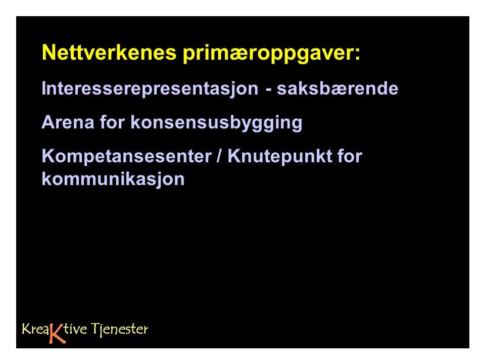 Nettverkenes primæroppgaver: Interesserepresentasjon - saksbærende Arena for konsensusbygging Kompetansesenter / Knutepunkt for kommunikasjon