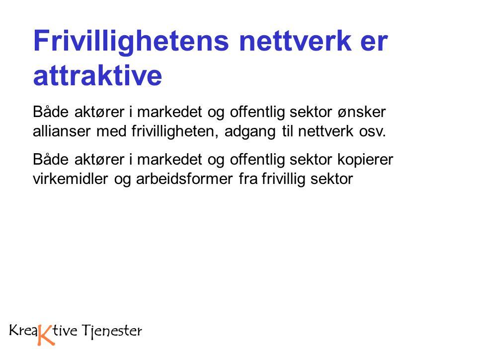 Frivillighetens nettverk er attraktive Både aktører i markedet og offentlig sektor ønsker allianser med frivilligheten, adgang til nettverk osv.