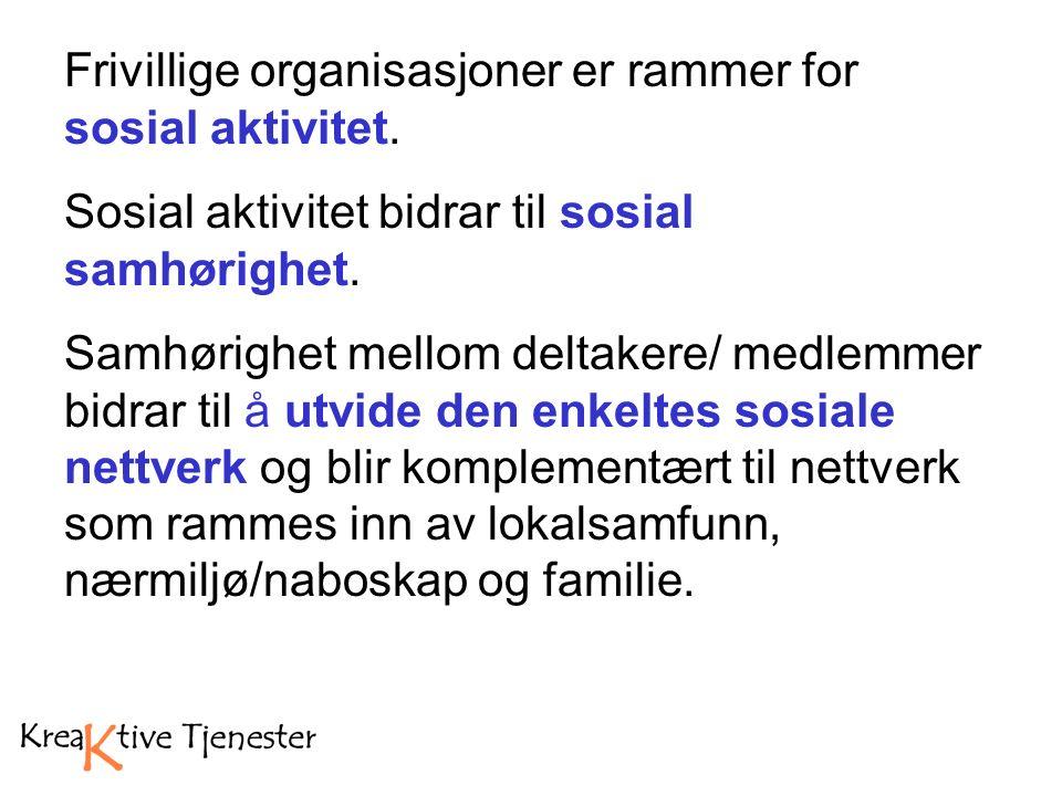 Frivillige organisasjoner er rammer for sosial aktivitet.
