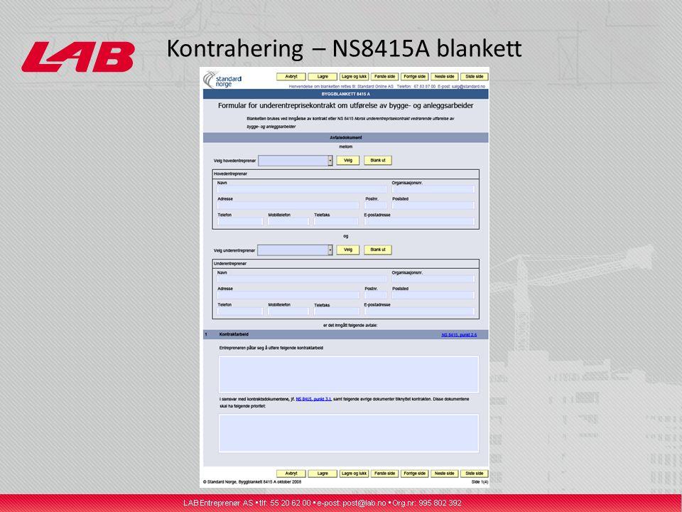 Kontrahering – NS8415A blankett