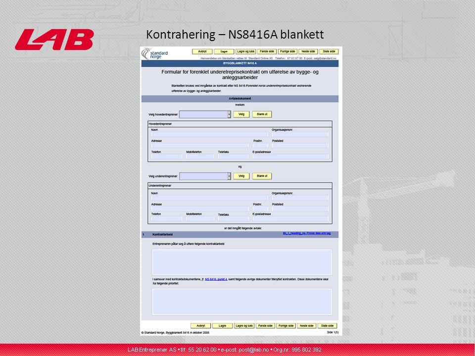 Kontrahering – NS8416A blankett