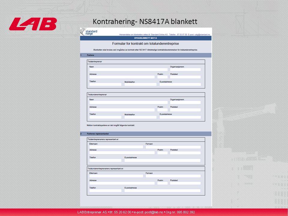 Kontrahering- NS8417A blankett