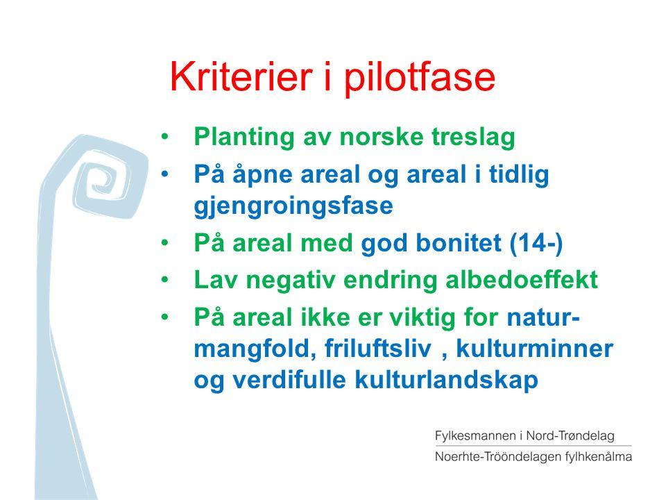 Kriterier i pilotfase Planting av norske treslag På åpne areal og areal i tidlig gjengroingsfase På areal med god bonitet (14-) Lav negativ endring albedoeffekt På areal ikke er viktig for natur- mangfold, friluftsliv, kulturminner og verdifulle kulturlandskap