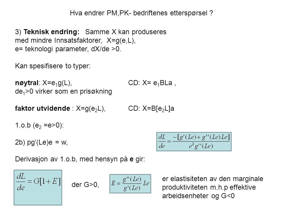 Hva endrer PM,PK- bedriftenes etterspørsel ? 3) Teknisk endring: Samme X kan produseres med mindre Innsatsfaktorer, X=g(e,L), e= teknologi parameter,