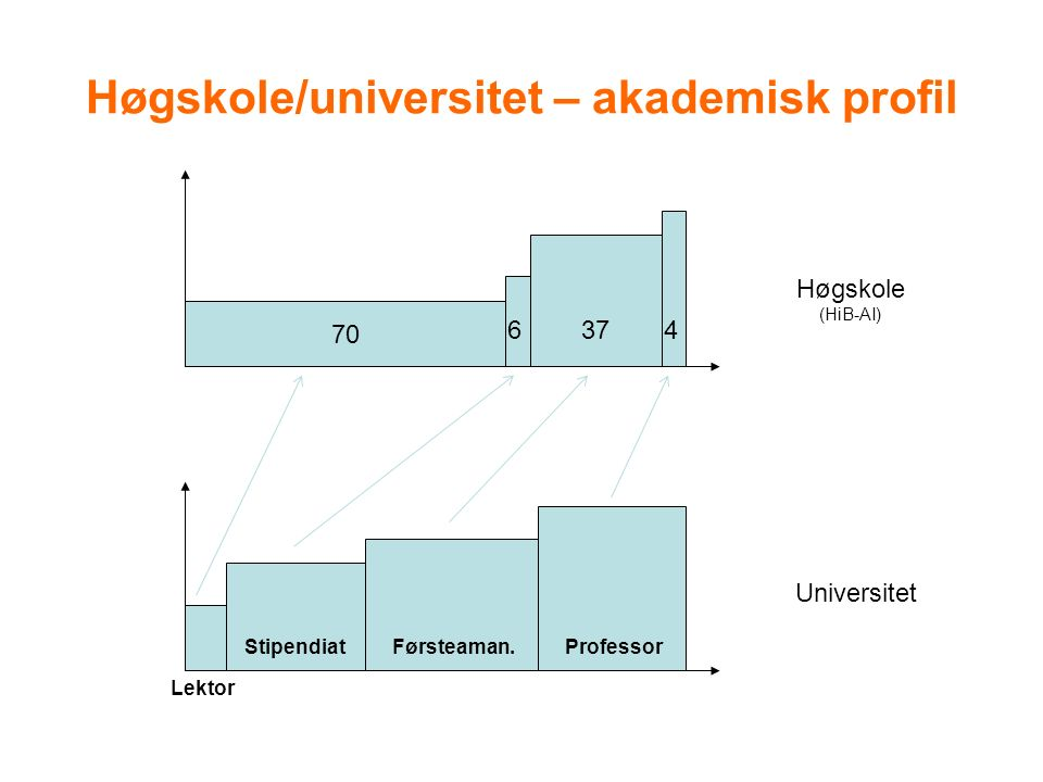 Høgskole/universitet – akademisk profil 70 6374 Høgskole (HiB-AI) Universitet Lektor Førsteaman.StipendiatProfessor