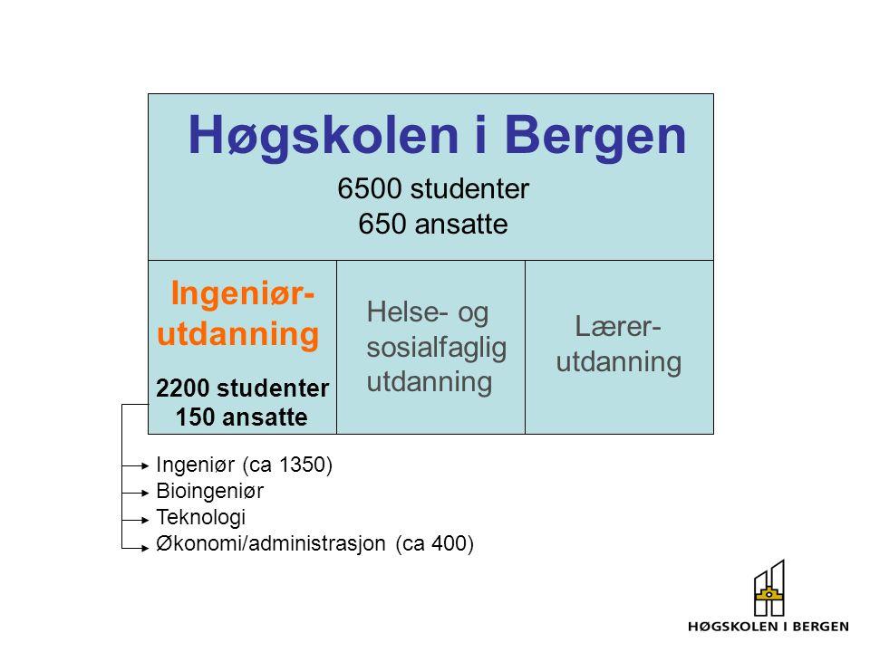 Ingeniør- utdanning Helse- og sosialfaglig utdanning Lærer- utdanning 2200 studenter 150 ansatte 6500 studenter 650 ansatte Ingeniør (ca 1350) Bioingeniør Teknologi Økonomi/administrasjon (ca 400)