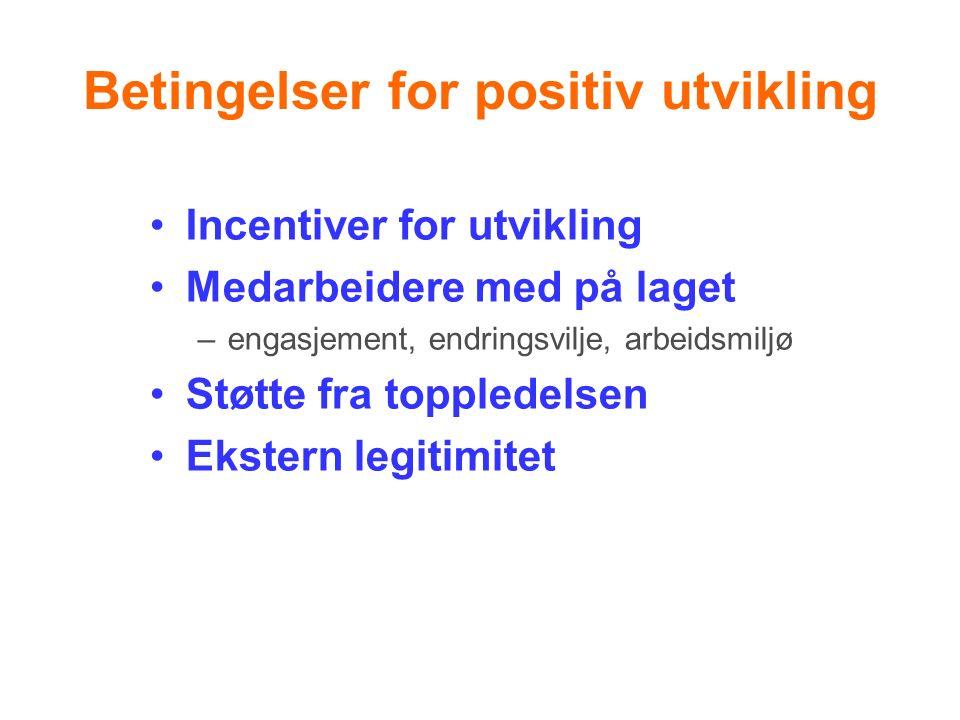 Betingelser for positiv utvikling Incentiver for utvikling Medarbeidere med på laget –engasjement, endringsvilje, arbeidsmiljø Støtte fra toppledelsen Ekstern legitimitet