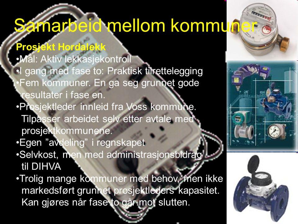 Prosjekt Hordalekk Mål: Aktiv lekkasjekontroll I gang med fase to: Praktisk tilrettelegging Fem kommuner.