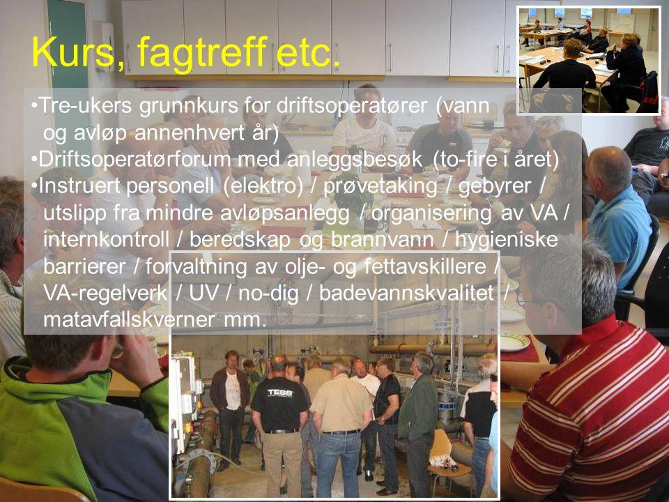 Tre-ukers grunnkurs for driftsoperatører (vann og avløp annenhvert år) Driftsoperatørforum med anleggsbesøk (to-fire i året) Instruert personell (elektro) / prøvetaking / gebyrer / utslipp fra mindre avløpsanlegg / organisering av VA / internkontroll / beredskap og brannvann / hygieniske barrierer / forvaltning av olje- og fettavskillere / VA-regelverk / UV / no-dig / badevannskvalitet / matavfallskverner mm.