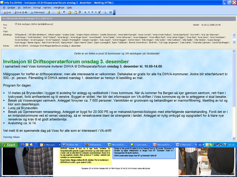 Informasjon og nettverk VA-Nytt i Hordaland (avviklet) Hjemmeside E-post Info fra DIHVA – når likt ut til alle.