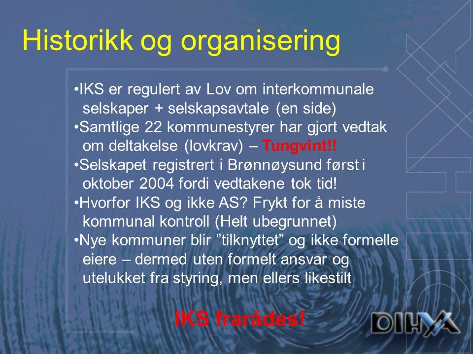 Historikk og organisering IKS er regulert av Lov om interkommunale selskaper + selskapsavtale (en side) Samtlige 22 kommunestyrer har gjort vedtak om deltakelse (lovkrav) – Tungvint!.