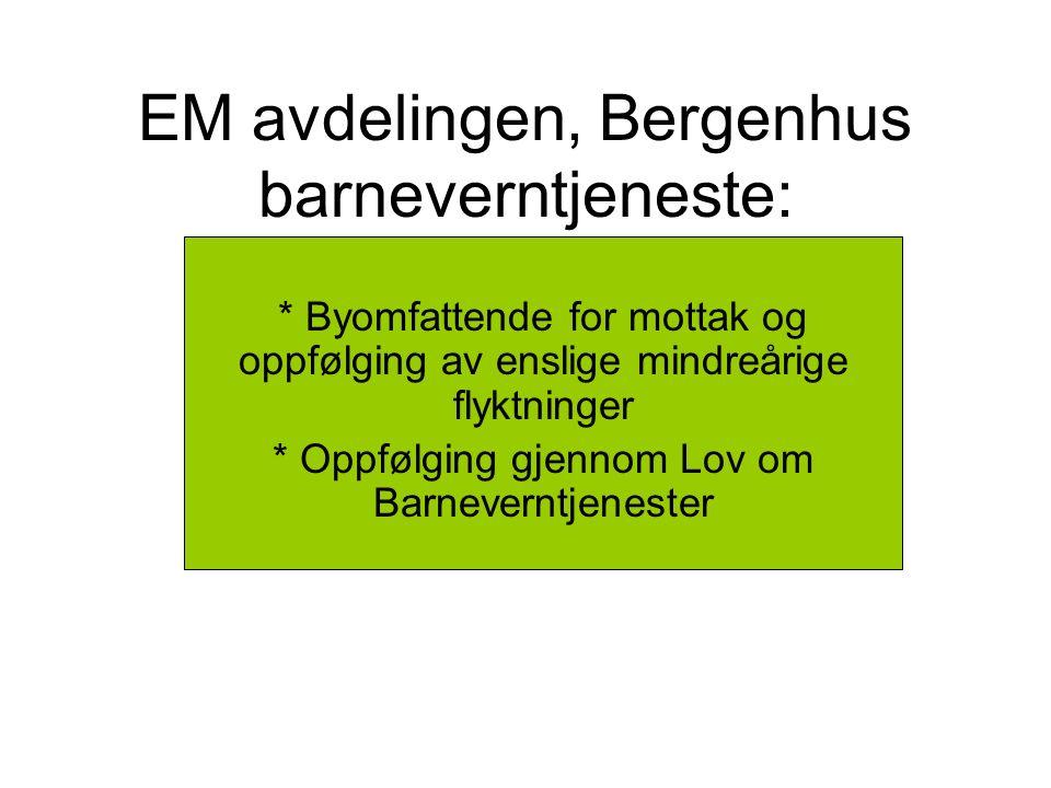 EM avdelingen, Bergenhus barneverntjeneste: * Byomfattende for mottak og oppfølging av enslige mindreårige flyktninger * Oppfølging gjennom Lov om Barneverntjenester
