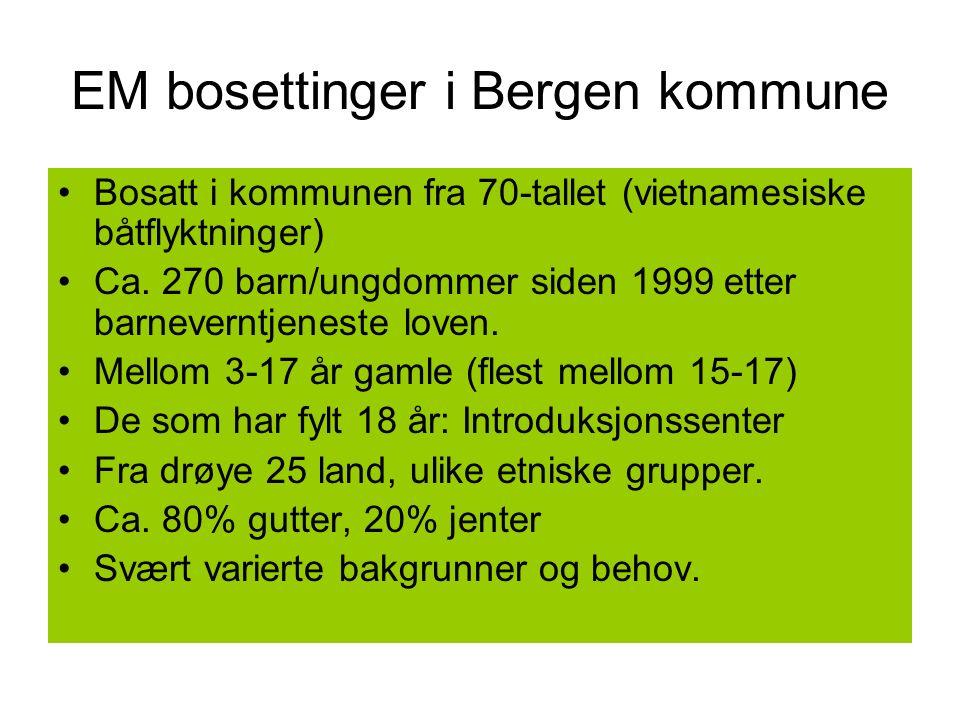 EM bosettinger i Bergen kommune Bosatt i kommunen fra 70-tallet (vietnamesiske båtflyktninger) Ca.